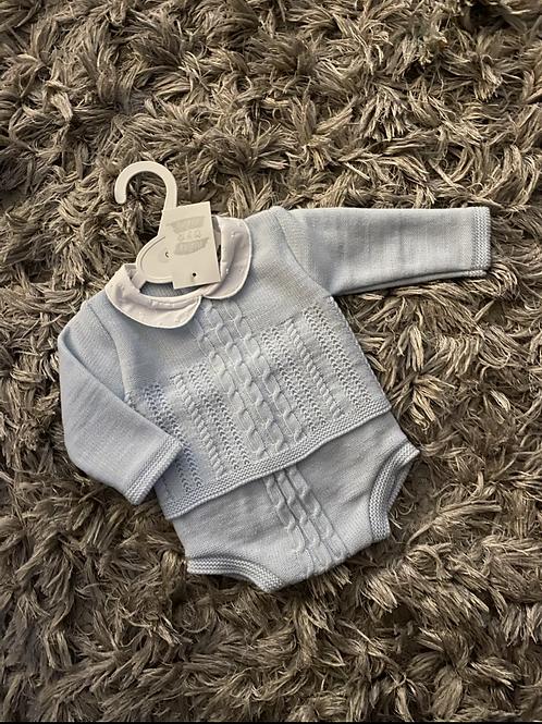 Ninas y Ninos blue cable knit jumper/pants 0-9 M