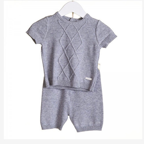 Blues baby diamond knit grey two piece 0-24M