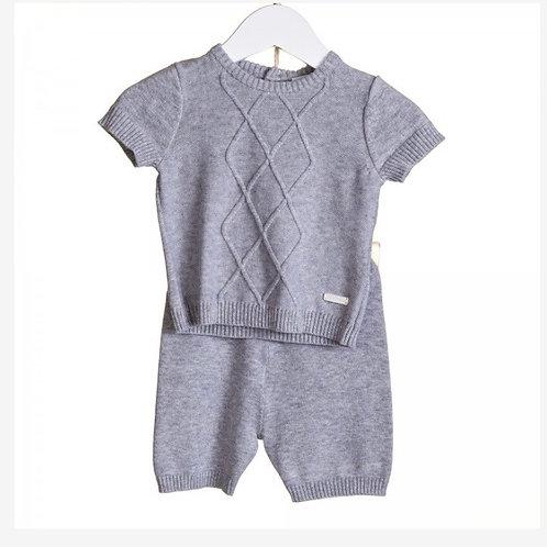 Blues baby diamond knit grey two piece 0-24M