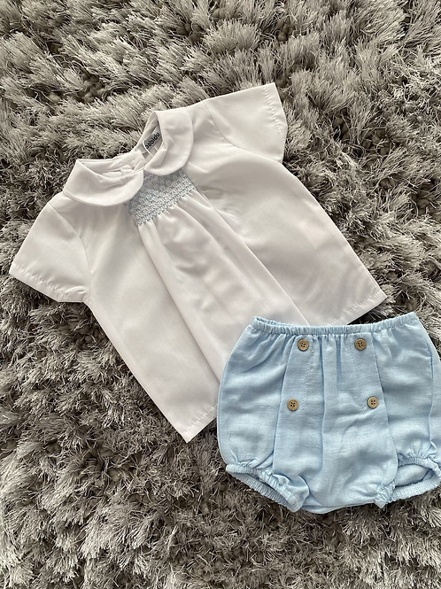 Babidu smocked shirt and buttoned shorts 3M - 3Y