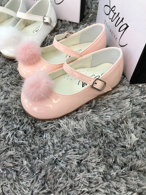 0307d39e5 Fabulous Pom Pom shoes by Sevva, patent leather, buckle fastening in pink  or white sizes 3/4/5/6/7/8 Shoes are a true fit More colours to follow Size  3 ...