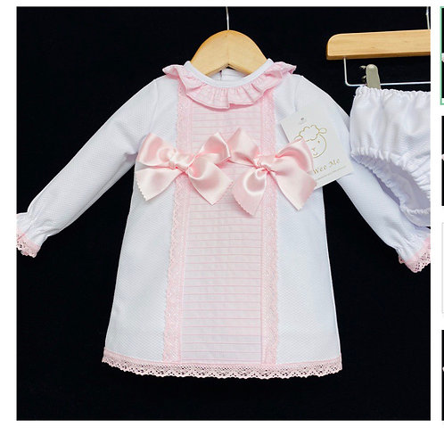 Wee Me pink/white frill collared dress 0-3Yrs