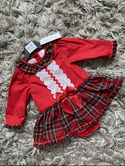 Wee Me long sleeved red tartan romper 0-24 Months