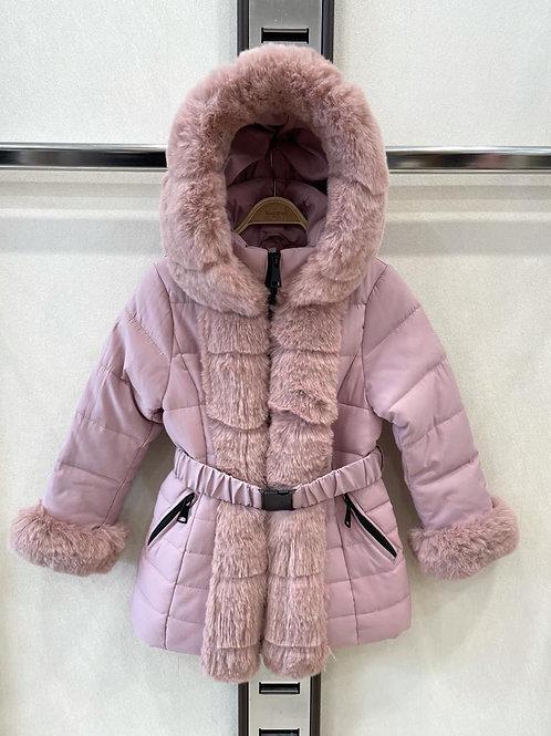 Girls pink faux fur winter coat 4-14 Years