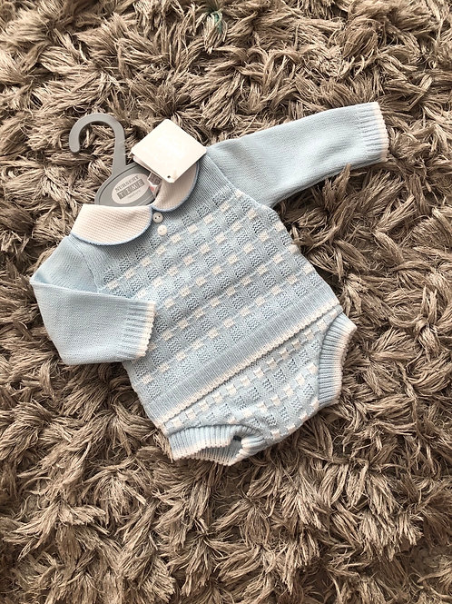 Sky Blue / white knitted two piece Nb - 9 M