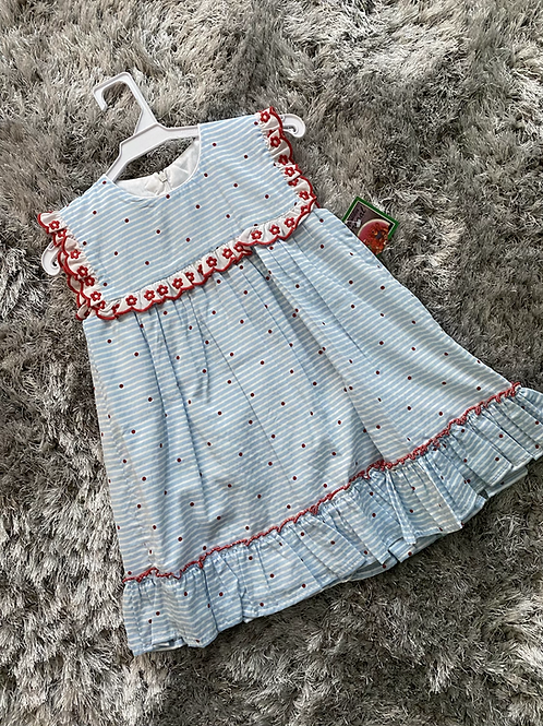 Blue/red flower dress ages 5-8 Years