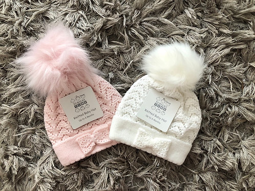 Nursery Time single Pom bow hat 0-12 Months