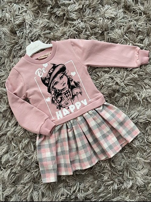 Be happy dress pink Age 2-5 Yrs