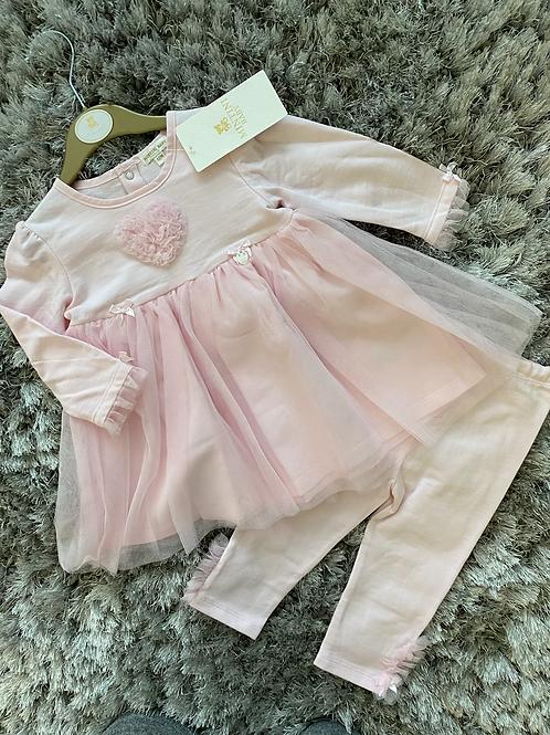 Mintini Baby heart ruffle dress/leggings set 12M-5Yrs