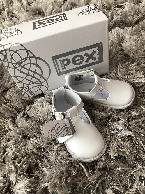 Pex T Bar buckle shoe white 3-5