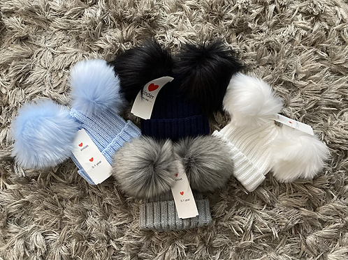 Kinder double Pom Pom faux fur hats ages 0-6 Years