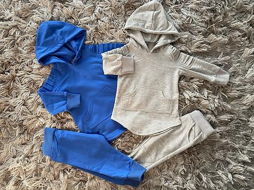Boys hooded tracksuits grey/royal blue 6M- 6Yrs