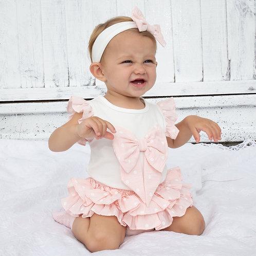 Caramelo pink polka dot ruffled shorts set 0-24 Months