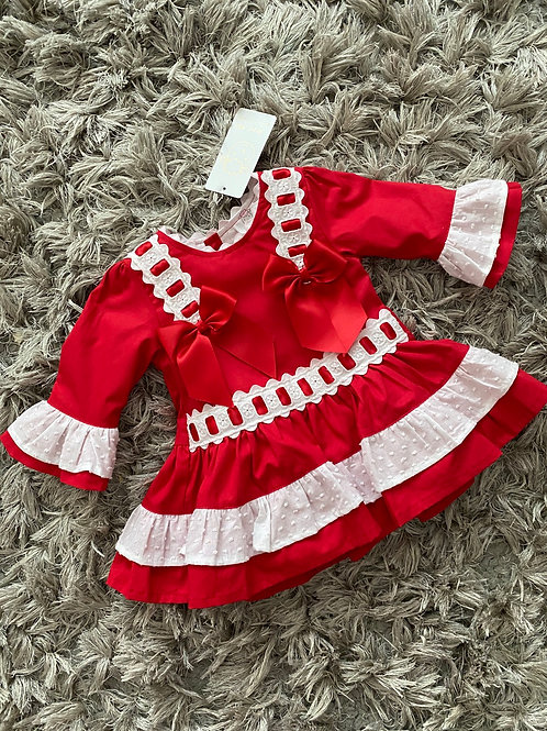 Wee Me Red/White dress 0-3 Yrs