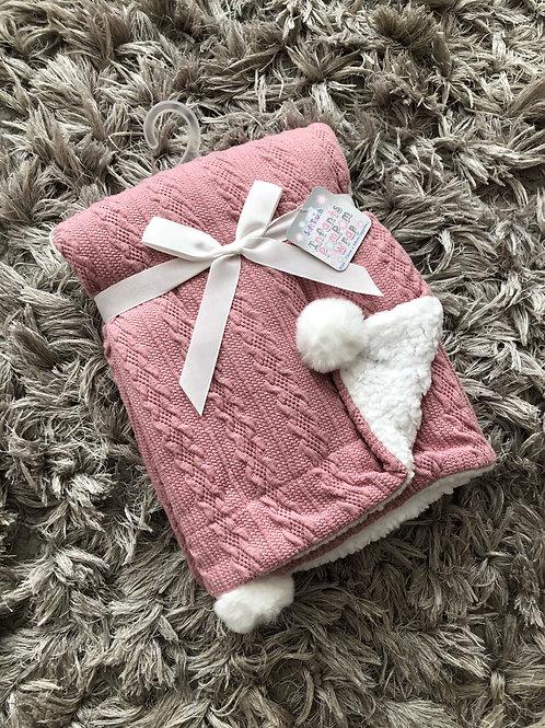 Soft touch dusky pink Pom Pom blanket