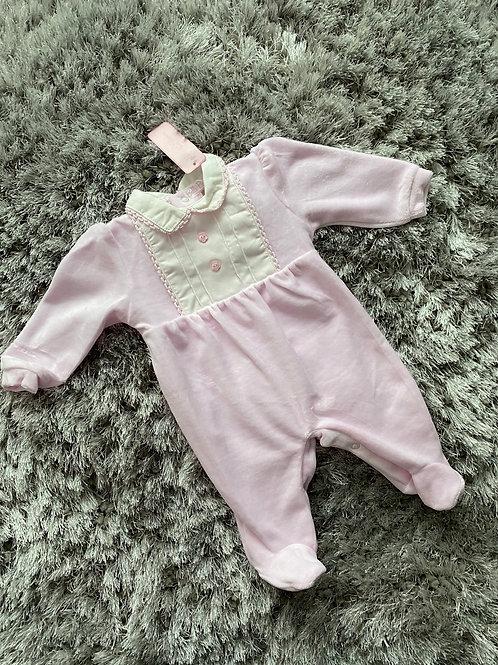 Bella Bambini pink velour babygrow 0-6 Months
