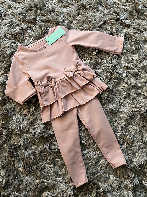 Pink double bow tutu lounge set ages 2-12 Years