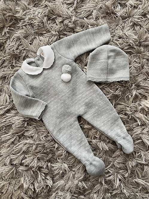 Grey Pom Pom suit romper and hat 0-12 Months