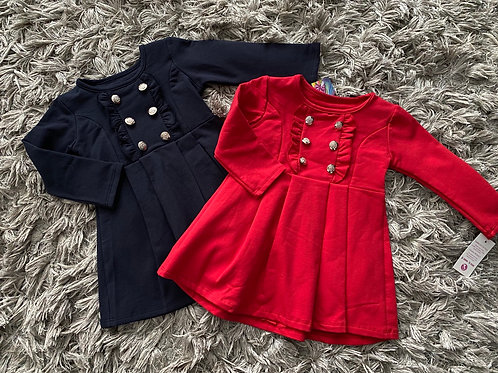 Spanish pleated frilled bodice dress navy/red Ages 2-12 Years