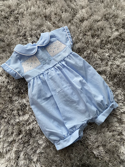 Baby blue smocked romper 0-9 Months