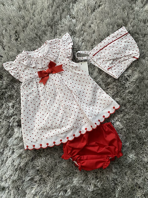 Baby Ferr red dotted 3 piece set 3-24 Months