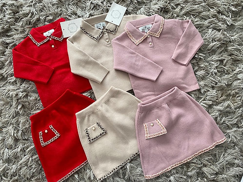 Beau kids collared top/skirt sets 2-7 years