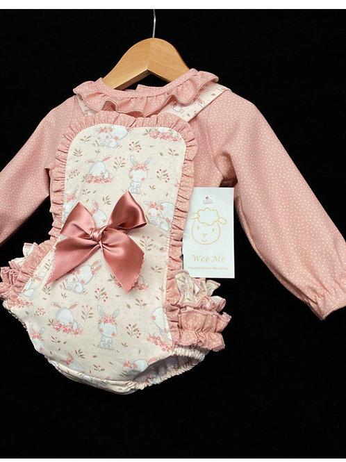Wee Me dusky pink bunny print romper set 3-36 Months
