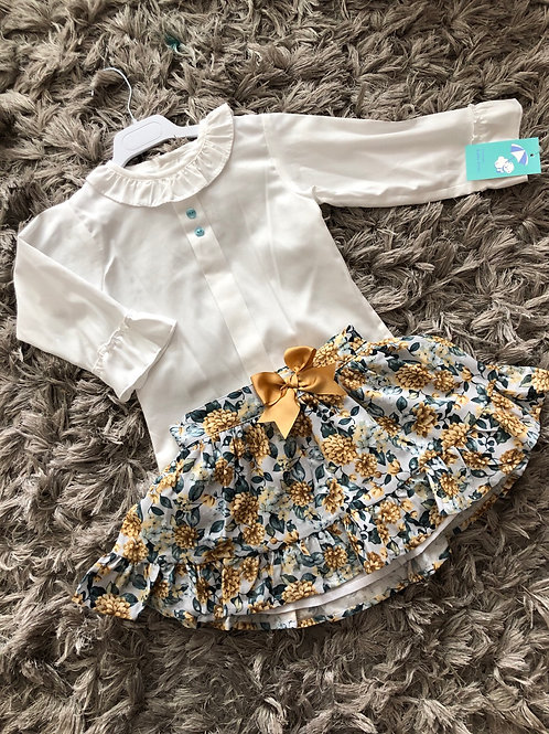 Baby Ferr - Shirt with Camel/blue skirt set age 4-10 Years