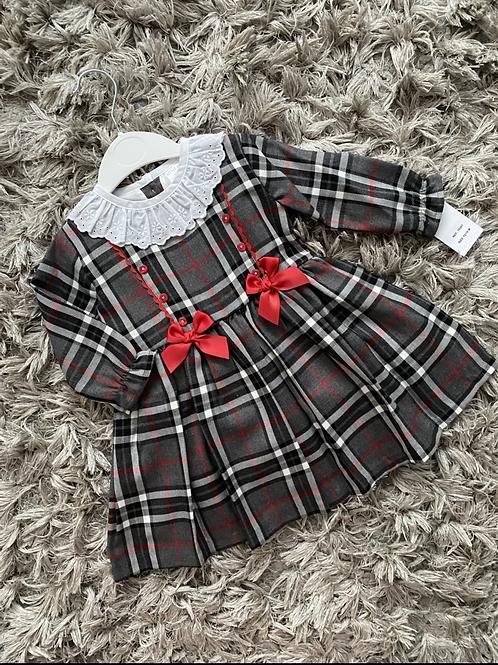 Spanish chequered grey drop waist dress 12-24 Months