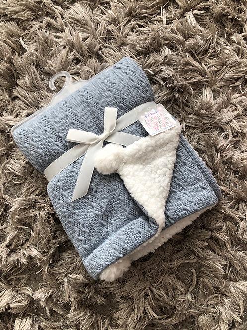 Soft touch blue Pom Pom blanket