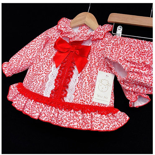 Wee Me red floral dress with pants 3-36 Months