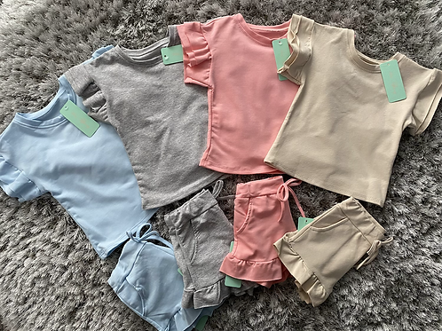Girls ruffle shorts sets ages 4-14 Years