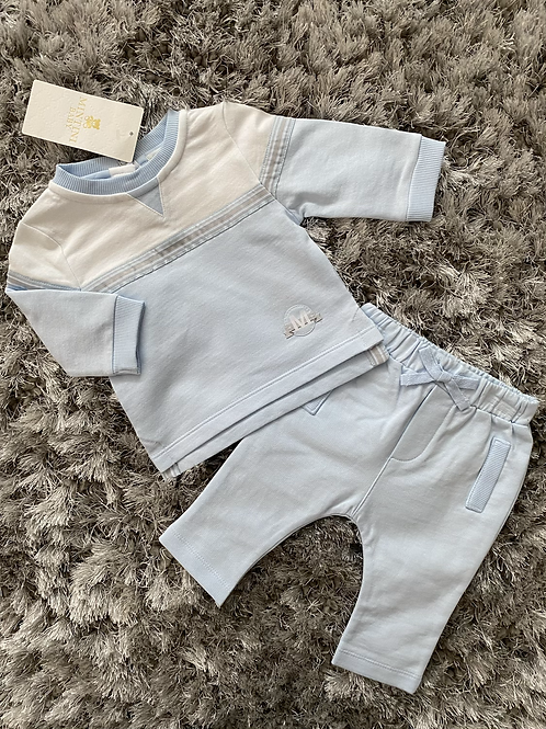 Mintini baby blue/white/grey trouser set 3M-5Y