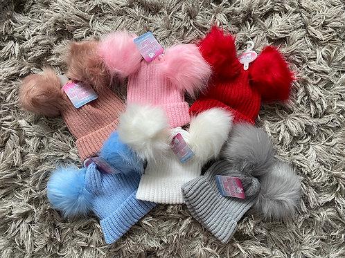 Double Pom Pom faux fur hats NB-6Months