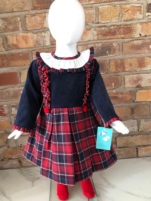 Baby Ferr Navy/Red pom pom tartan dress 2-10 Years