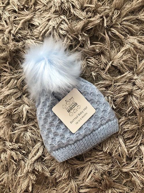 Nursery Time sky blue single Pom hat 0-12 Months