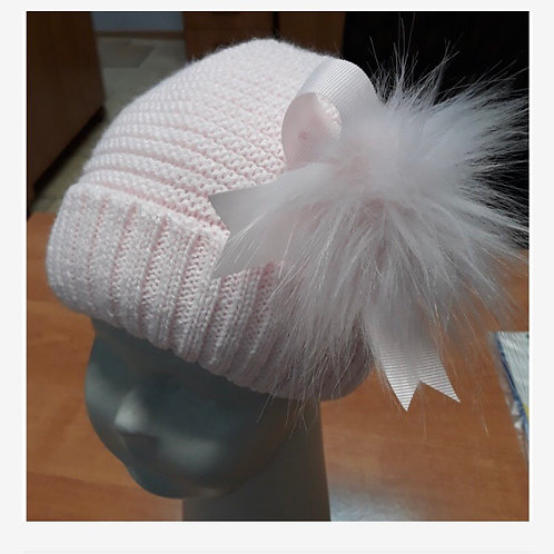Kinder pink ribbed Pom bow hat 6-24 M