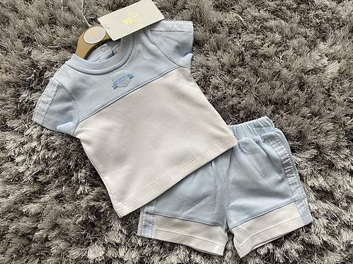 Mintini baby blue/white shorts set 0-24 Months