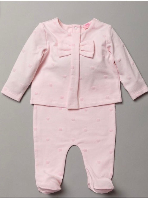Pink bow top/pants set 0-9 Months