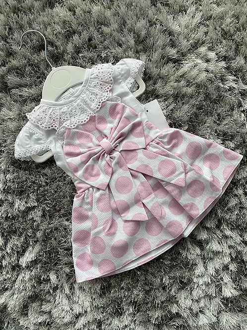 Spanish pink polka dot dress 0-24 Months