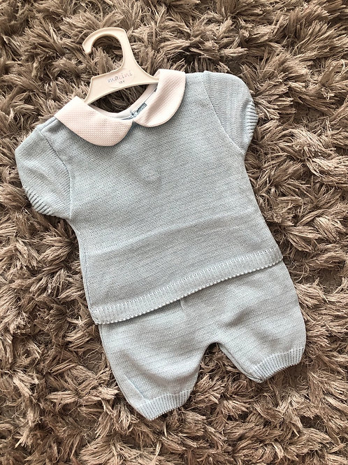 Mabini blue cotton top shorts set 1-4 yrs