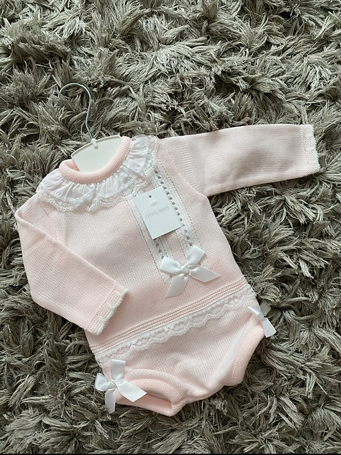 Spanish pink bow two piece outfit NB-12 Months
