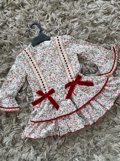 Spanish floral drop waist dress red slot bow 3-10 Yrs