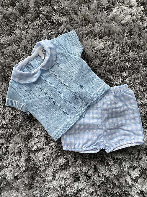 Blue knitted check shorts aets 0-12 Months