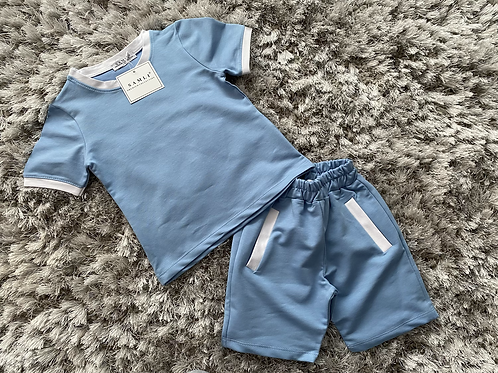 Boys co-ord top and shorts white striped set 2-10 Yrs