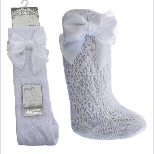 Soft touch white Pelerine knee length bow socks 0-24 months
