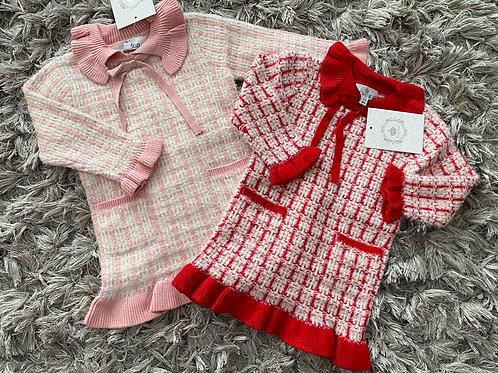 Beau kids tweed dress pink/red 2-7 years