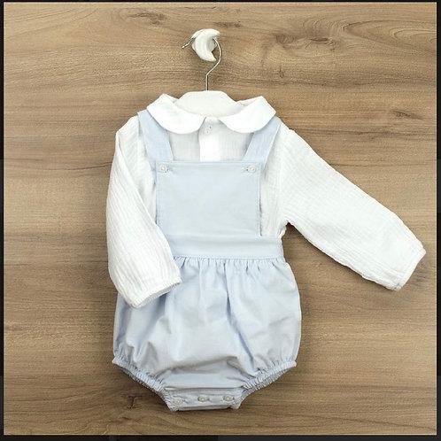 Babidu white shirt/blue dungaree set