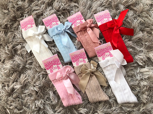 Knee high heart bow socks 0-6 years