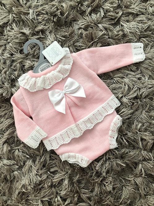 Spanish pink/white frill bow jam pants set NB-9 M